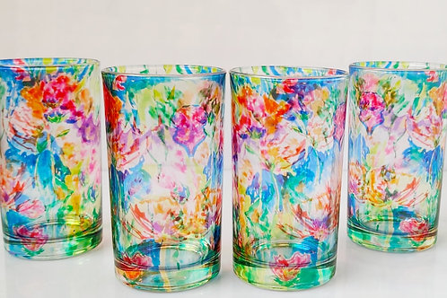 Water Glass Mix Floral (set of 4)