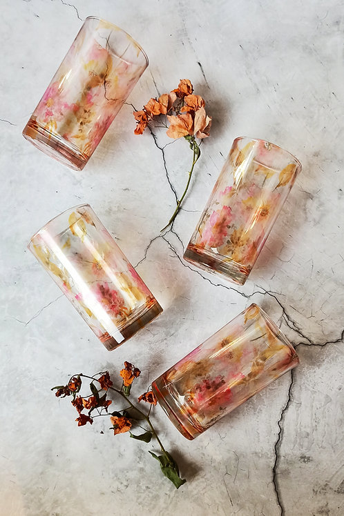 Rusty floral art glasses (set of 4)