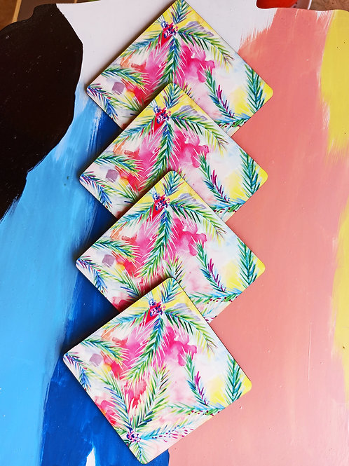 Coloured Palms coasters
