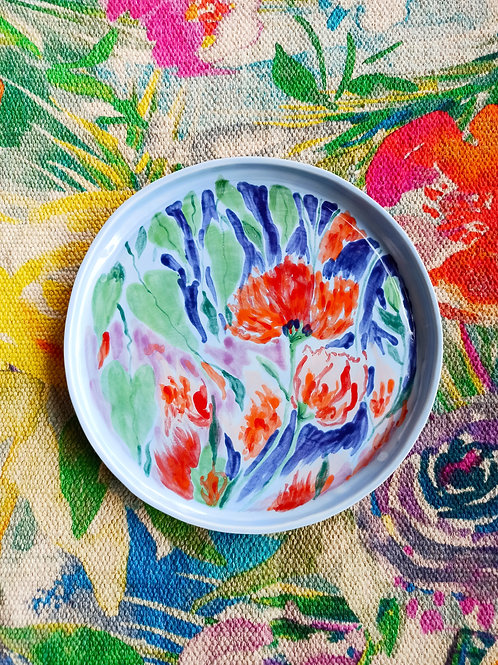 Floral plate ( blue)