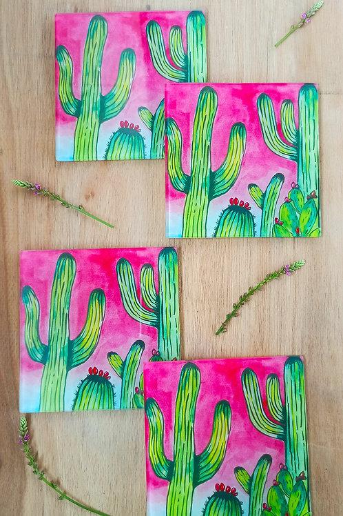 Cactus Glass Coasters