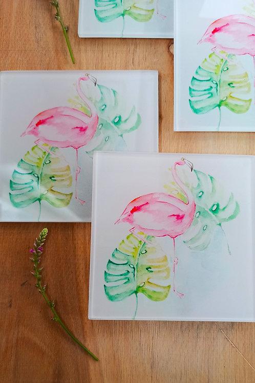 Flamingo Glass Coasters