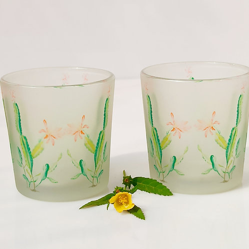 Cactus Candle Votives/ Shot Glasses set of 2