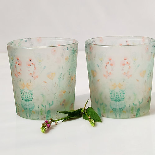 Wildflower mix Candle Votives/ Shot Glasses set of 2