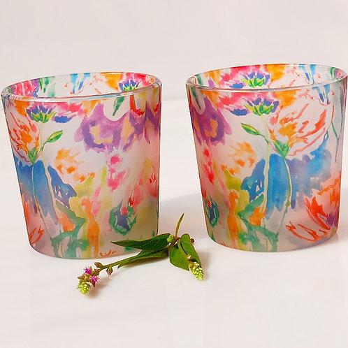 Mix Floral (set of 2) Votive/Shot glasses