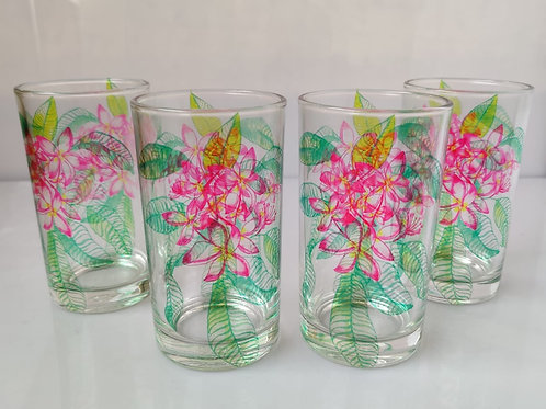 Plumeria glasses (set of 4)