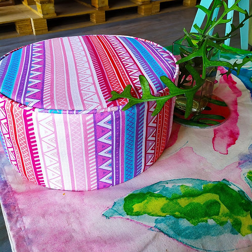 Pink Patterned Floor Pouffe