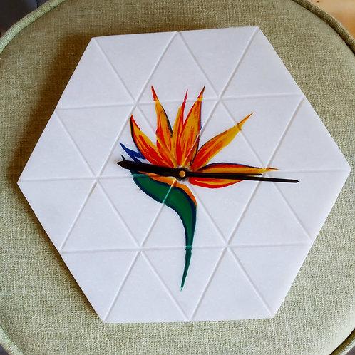 Marble Clock (Bird of Paradise)