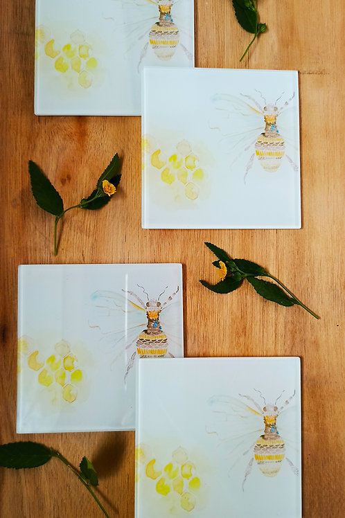 Bee Glass Coasters