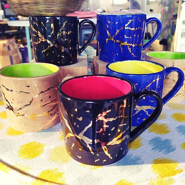 Custom colour block mugs!! 😊😊