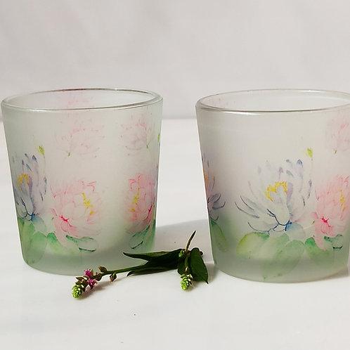 Lilies Candle Votives/ Shot Glasses set of 2