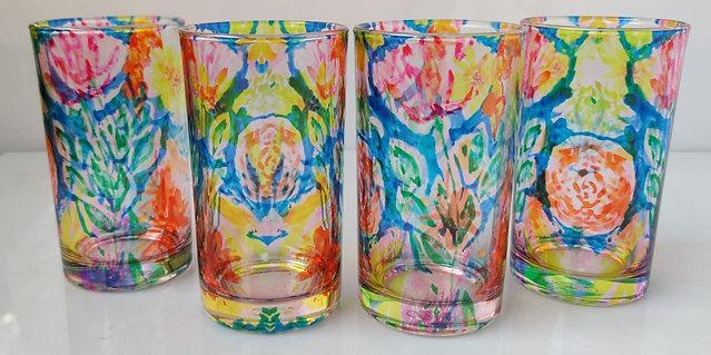 Blue floral art glasses (set of 4)