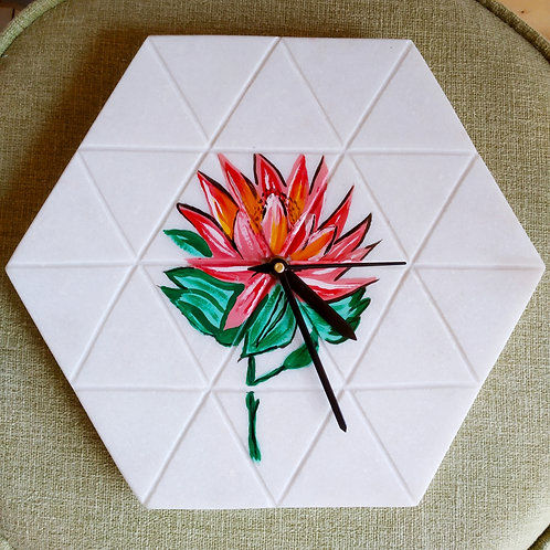 MARBLE CLOCK (Floral)