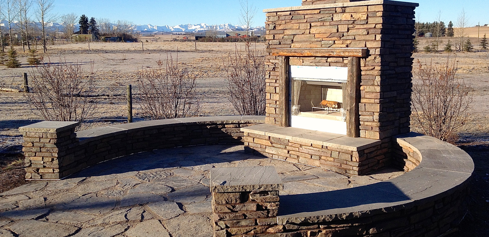 Outdoor Fireplace and Crescent Benches