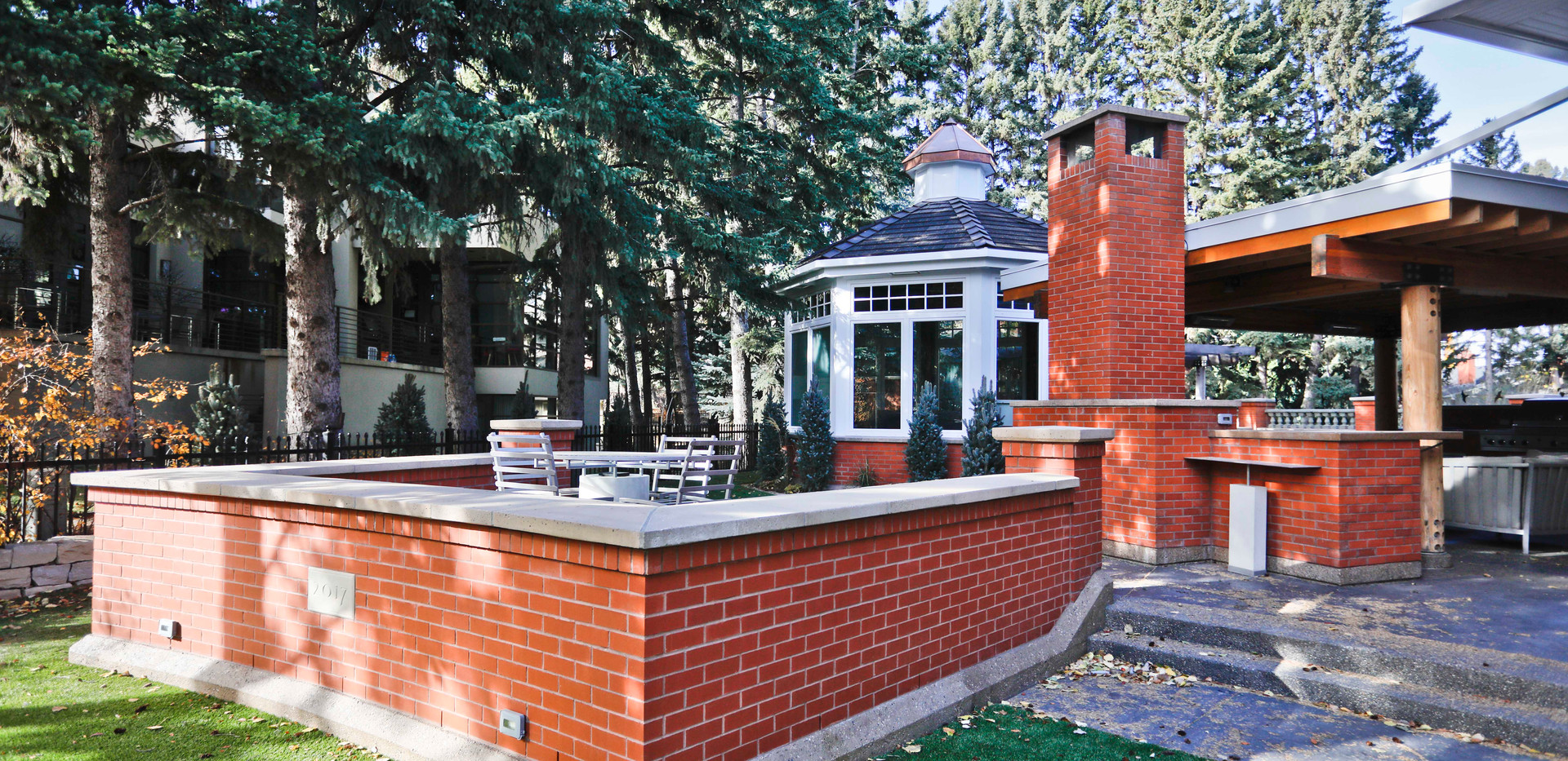 Red brick outdoor living space