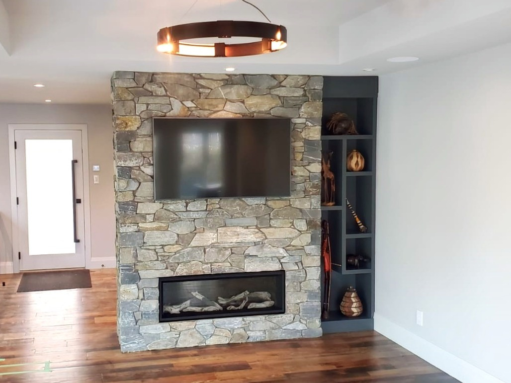 Dry Stacked Stone Indoor Fireplace