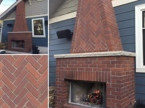 Red brick fireplace and chimney repair