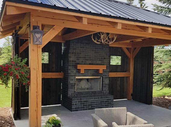 Black Brick Outdoor Fireplace
