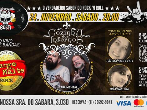 Amargo Malte e Cozinha dos Infernos tocam na Hamburgueria Rock & Beer