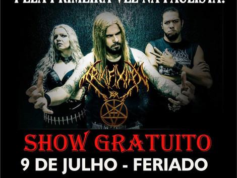 Show gratuito da banda Crucifixion BR na Avenida Paulista