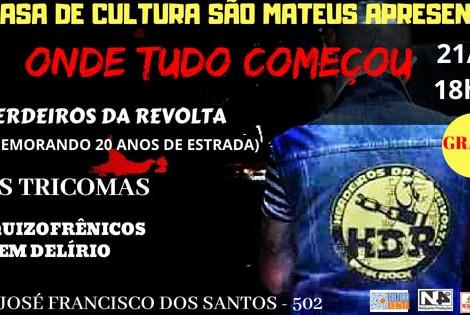 Casa de Cultura de São Mateus recebe show em comemoração aos 20 anos da banda Herdeiros da Revolta