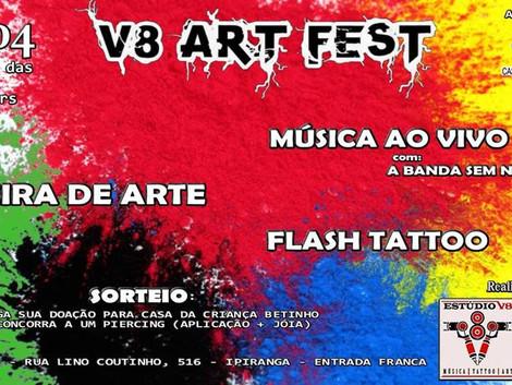 V8 Art Fest reúne música, arte e gastronomia