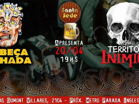 Noite Punk Rock/Crossover no Santa Sede Rock Bar com Cabeça Pilhada e Território Inimigo