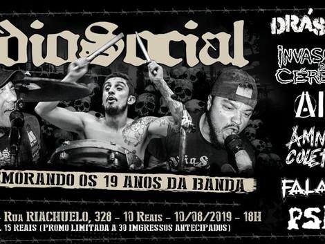 ÓdioSocial comemora 19 anos com show no Centro Cultural Zapata
