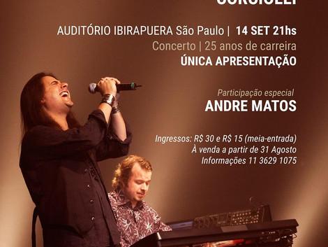 Andre Matos se apresenta no Auditório Ibirapuera para comemorar 25 anos de carreira do compositor e