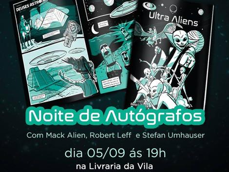 Noite de autógrafos e lançamento da HQ da banda Ultra Aliens na Livraria da Vila