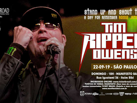 Tim Ripper Owens: vocalista fará nova turnê pelo Brasil em setembro