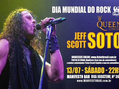 Dia Mundial do Rock: JEFF SCOTT SOTO presta tributo ao Queen no Manifesto Bar