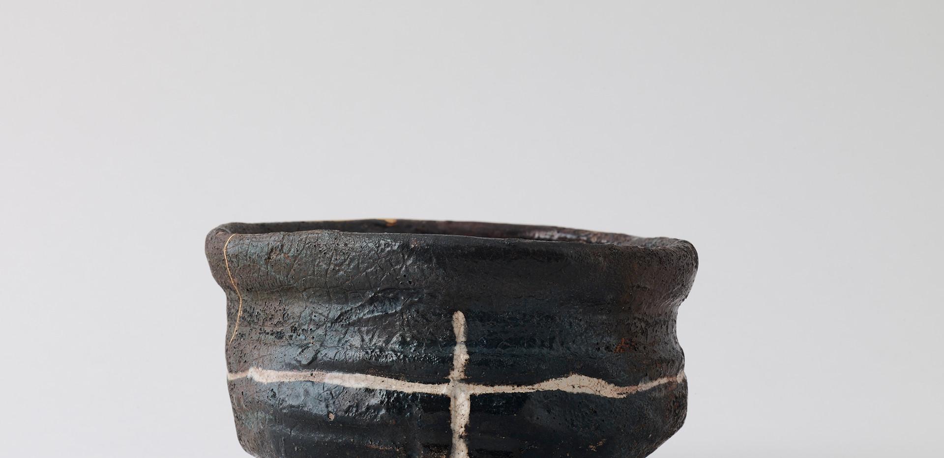 Black Oribe Kutsu-Gata Tea Bowl