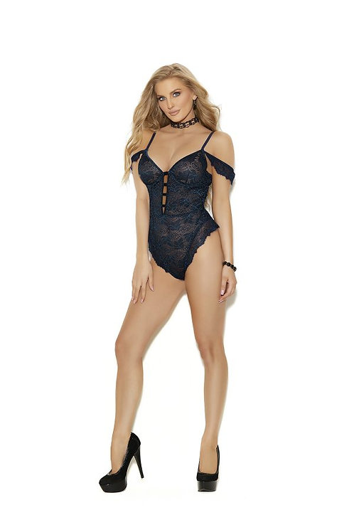 Off the shoulder lace teddy, underwire cups, adjustable straps, midnight blue