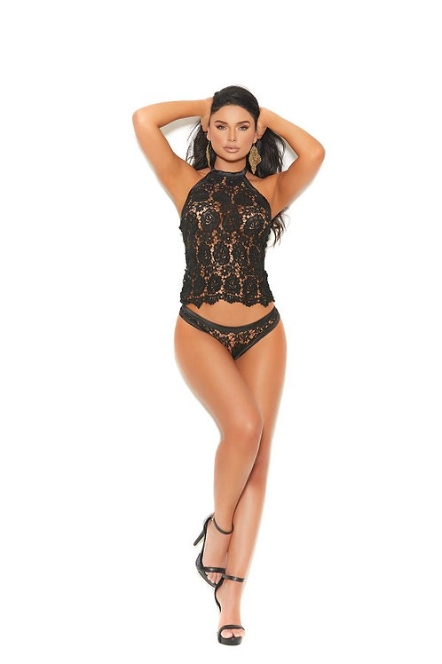Black Crochet lace halter cami top, open back, matching panty