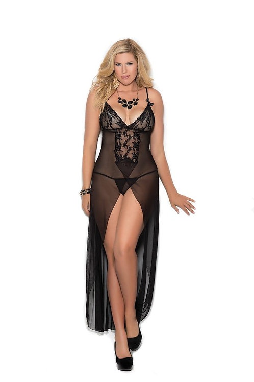 Long mesh gown features front slit, satin bows and front lace panel