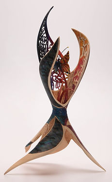 'awake' 'Joey Richardson' artist turned carved pierced filigree airbrushed textured 'contemporary wood sculpture' 'interior design'