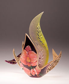 'iowa orchid' 'Joey Richardson' artist turned carved pierced filigree airbrushed textured 'contemporary wood sculpture' 'interior design'