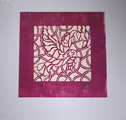'Quies' red embossed woodcut  print .jpg