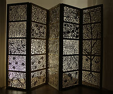 '(Un)veiled' Joey Richardson artist natural wood filigree 25 panel screen contemporary sculpture craft interior design