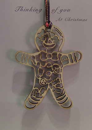 Card with Gingerbread Man Tree Decoration