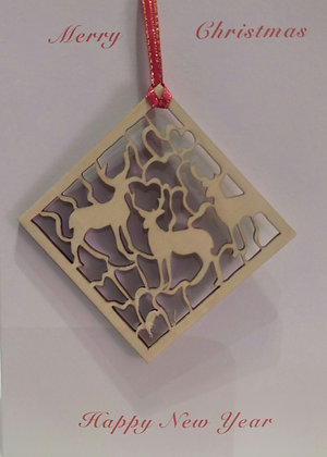 Card with Reindeer Tree Decoration