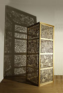 'Respect Me' Joey Richardson artist natural wood filigree 17 panel plinth contemporary sculpture craft interior design