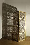 'Respect Me' Joey Richardson artist natural wood filigree 17 panel plinth contemporary sculpture craft interior design