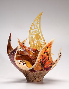 'qest' 'Joey Richardson' artist turned carved pierced filigree airbrushed textured 'contemporary wood sculpture' 'interior design'