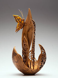 'a touch of yellow' 'Joey Richardson' artist turned carved pierced filigree airbrushed textured 'contemporary wood sculpture' 'interior design'