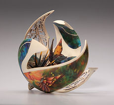 'lomavista''Joey Richardson' artist turned carved pierced filigree airbrushed textured 'contemporary wood sculpture' 'interior design'
