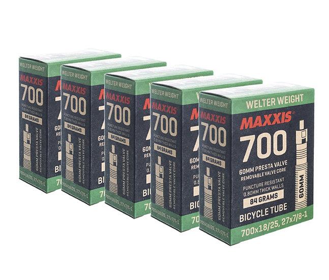 Maxxis tube 700X18/25  חמישיית פנימיות כביש ארוזות ונטיל 60/42ממ