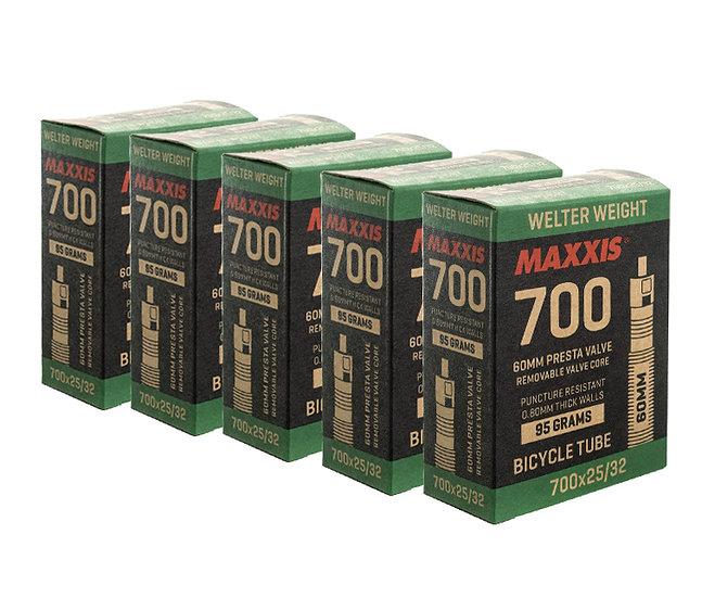 Maxxis tube 700X25/32  חמישיית פנימיות כביש ארוזות ונטיל 60ממ