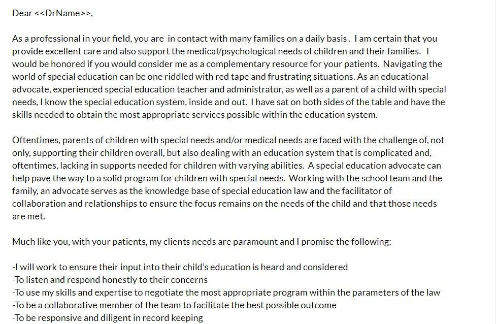 Advocacy sales letter